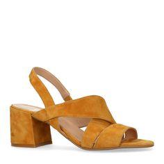 san francisco b7e0b 92caf Okergele suède sandalen met hak - Dames   MANFIELD