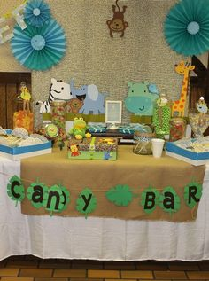 "Photo 1 of Safari/jungle / Baby Shower/Sip & See ""Safari Baby Shower"" Baby Shower Table Set Up, Baby Shower Parties, Baby Shower Themes, Baby Boy Shower, Baby Shower Decorations, Shower Ideas, Shower Party, Shower Games, Safari Theme Party"