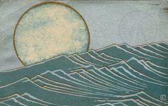 'Moon and Waves', Japanese Art Nouveau postcard, ca. 1920s