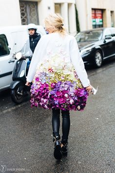 floral applique coat street style