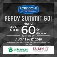 Check Out Go Hotels And Summit Room Avail Up To 60 Off On Rates Promo Valid From August 15 17 2016 At Robinsons Equitable Tower