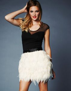 Lipsy Nude Feather Skirt - Lipsy