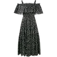 Dolce & Gabbana off-shoulder polka-dot dress (24.605 ARS) ❤ liked on Polyvore featuring dresses, vestido, black, tiered dress, dot dress, fitted dress, off shoulder dress and mod dress