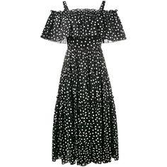 Dolce & Gabbana Dolce & Gabbana Off-Shoulder Polka-Dot Dress ($2,295) ❤ liked on Polyvore featuring dresses, black, off the shoulder long dress, holiday dresses, summer dresses, lace summer dress and cocktail dresses