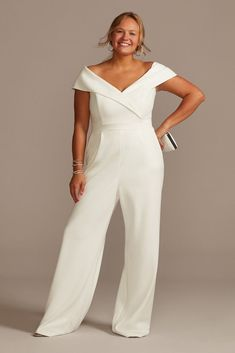Courthouse Wedding Dress, Civil Wedding Dresses, Bridal Jumpsuit, Jumpsuit Dress, Jumpsuit Style, Rehearsal Dinner Outfits, Wedding Rehearsal Outfit, White Rehearsal Dinner Dress, Wedding Pantsuit