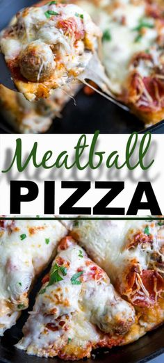 The meatball pizza is so satisfying and delicious you may never have meatballs (or pizza) any other way! This recipe is made in a skillet for an easy and different way to eat pizza! Eat Pizza, Good Pizza, Real Food Recipes, Cooking Recipes, Cooking Chef, Retro Recipes, Beef Recipes, Cooking Tips, Meatball Pizza Recipes