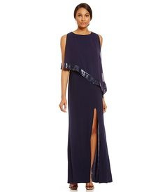 Navy:R & M Richards Sequin-Trim Popover Gown