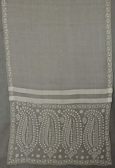 """c1805 Directoire hand-embroidered mull shawl. 35"""" wide and 110"""" long. Vintage Textile $1200"""