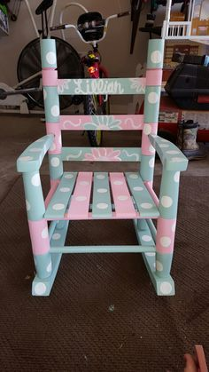 Painted Kids Chairs, Painted Rocking Chairs, Whimsical Painted Furniture, Childrens Rocking Chairs, Rocking Chair Redo, Adirondack Rocking Chair, Painted Wooden Boxes, Patterned Chair, Decorated Chairs
