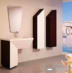 Mueble de baño Line con un diseño original y en lineas minimalistas con fabricación a medida Bathroom Lighting, Sink, Mirror, Furniture, Home Decor, Mirrors For Bathrooms, Minimalist Chic, Bathroom Furniture, Apartment Bathroom Design