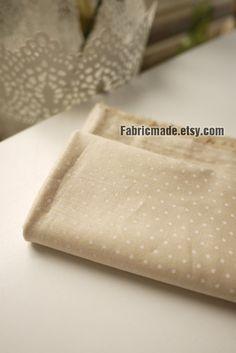 Beige Fabric Cream Cotton Fabric White Polka Dot by fabricmade