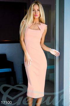 Gepur | Облегающее платье-футляр арт. 17100 Цена от производителя, достоверные описание, отзывы, фото , цвет: пудрово-розовый