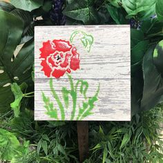 Custom made personalized Garden Decor Tile. Personalized Poppy Garden Tile is Made in Canada and comes with a Lifetime Warranty.
