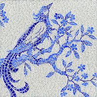Blue - bird - Birds and Branches, a hand cut jewel glass mosaic shown in Opal, Iolite and Lapis Lazuli, is part of the Delft Collection by Sara Baldwin for New Ravenna Mosaics. Mosaic Birds, Blue Mosaic, Mosaic Art, Mosaic Glass, Mosaic Designs, Mosaic Patterns, Ravenna Mosaics, New Ravenna, Mosaic Projects
