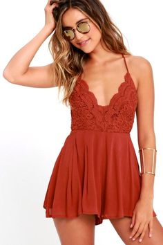 8a7180079f2d2e All eyes will be on you when you wear the Star Spangled Rust Red Backless  Lace Romper to your next party!