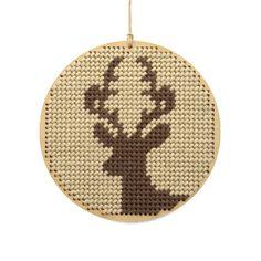 "christmas ornament needlepoint kit - diy - stag - 3.5"" - rustic modern. $22.00, via Etsy."