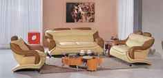 Divani Casa 7055 Modern Bonded Leather Sofa Set VGBN7055-CAM