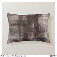 Dark brown abstract art accent pillow Soft Pillows, Accent Pillows, Brown Cushions, Decorative Cushions, Soft Fabrics, Dark Brown, Abstract Art, Color, Design