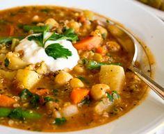 Vegan Quinoa Garbanzo Bean Italian Vegetable Soup - w/celery, onion, garlic, turnip or potato, carrots, green beans, plum tomatoes, vegetable stock, Italian seasonings. Delicious & satisfying with Focaccia Bread.