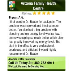 I first went to Dr. Reade for back pain.