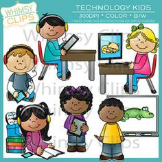 The technology kids clip art set contains 12 image files, which includes 6 color images and 6 black & white images. All images are 300dpi for better scaling and printing. $