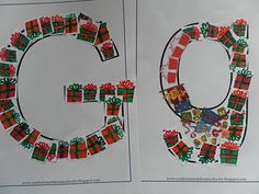 Like this- G is for gifts- maybe use stickers..if gluestick isn't clean enough.