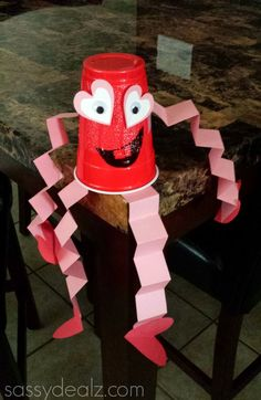 Red Solo Cup Valentine's Day Craft For Kids {Heart Man}  Use the cups left over from 100th day of school :)