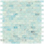 "Renaissance Glass Tile - Silks of Amber 5/8"" x 1 1/4"" Brick Mesh Mounted Glass Mosaic in Caledonia Matte - ( GBM-83317 )"