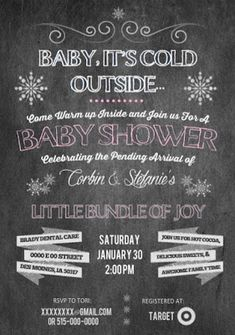 Baby It's Cold Outside  Winter Baby Shower Invitation- Rustic Chalkboard vibe CoffeeAndCorgis.com