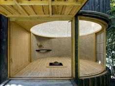 Placed in a garden setting in Prague, Czech Republic, this minimalist tea house was designed by David Maštálka of Architects and completed in The Nature Architecture, Japanese Architecture, Interior Architecture, Interior And Exterior, Interior Design, Japanese Tea House, Charred Wood, Meditation Rooms, Japanese Interior