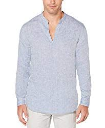 Beach Wedding Attire For Men - Mock collar shirt made with linen for a maximum moist absorbance and breathability.