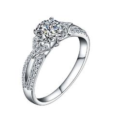 Elegant Rhinestone Zirconia Finger Ring Fashion Band Jewelry Gift Stamped 925 Silver Bridal Wedding Rings For Woman - Glam Duchess