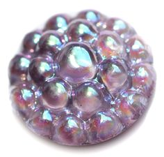 Button / Glass Lavender Bubble Top with Aurora Finish Moonglow - Small by KPHoppe on Etsy