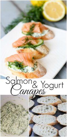 Salmon Canape Appetizers with Spinach and Greek Yogurt. ValentinasCorner.com