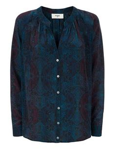 Pyrus Nova silk blouse - dark python - Beautiful Nova silk button through blouse from Pyrus with a blue/black python print. This v necked blouse has long sleeves with buttoned cuffs and a round. V Neck Blouse, Blouse Dress, Dress Outfits, Fashion Dresses, Blouses Uk, Feather Stitch, Pyrus, Python Print, Friends In Love