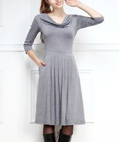 Another great find on #zulily! Gray Pleated Cowl Neck Dress by Reborn Collection #zulilyfinds