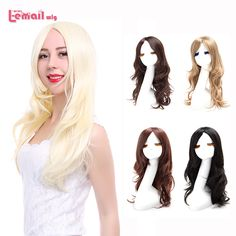 L-email Fashion Women Cute Lady Wig 60cm/24inches Synthetic Wigs Hair Mixed Beige Synthetic Hair Long Platinum Blonde Wig Peruca
