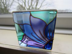 Hand Painted Glass Candle Holder by ASplashofColour1 on Etsy