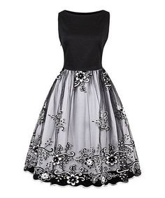 Another great find on #zulily! Black Floral Sleeveless Fit & Flare Dress #zulilyfinds