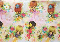 Vintage+Gift+Wrapping+Paper++Flower+Girls+by+OhHazelVintage,+£3.95