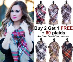 Christmas gifts, Plaid Blanket Scarf, gift for her, Blanket Scarf monogram,  Tartan Scarf, Blanket Scarf Bridesmaid, Oversized Scarf wool 67716a46115