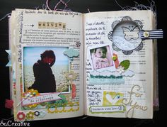 Old book as mini album inside page