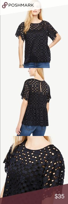 Ann Taylor Geo lace top Ann Taylor Geo lace top. NWOT. Color: black It's missing the price tag. Ann Taylor Tops