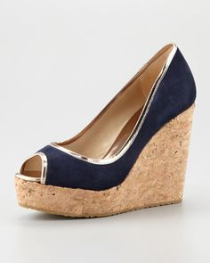 Papina+Suede+Cork+Wedge,+Navy+by+Jimmy+Choo+at+Neiman+Marcus.
