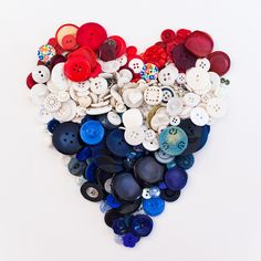 to mark i decided to form a red, white and blue heart using some buttons i've collected. peace and love from san francisco. Diy Buttons, Vintage Buttons, Button Art, Button Crafts, Let Freedom Ring, I Love Heart, Fourth Of July, Memorial Day, Heart Shapes