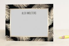 Gilded Palm Fronds Foil-Stamped Stationery by jot and tittle design at minted.com