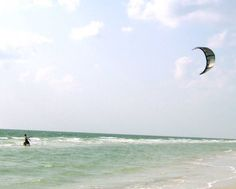 Kite surfer on a windy day.
