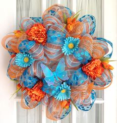 Deco Mesh Door Wreath Orange Turquoise by SouthernCharmWreaths