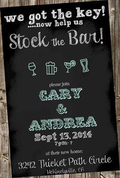 Housewarming-stock the bar Invitation -Chalkboard style