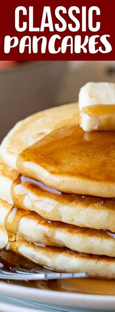 This is the BEST Classic Pancake Recipe because it is buttery, fluffy and super easy to make. No buttermilk, no whipping egg whites, just a super quick and delicious pancake that's loaded with flavor!Source by iwashyoudry Pancakes Nutella, Tasty Pancakes, Pancakes And Waffles, Fluffy Pancakes, Egg White Pancakes, Waffle Recipes, Brunch Recipes, Breakfast Recipes, Pancake Recipes